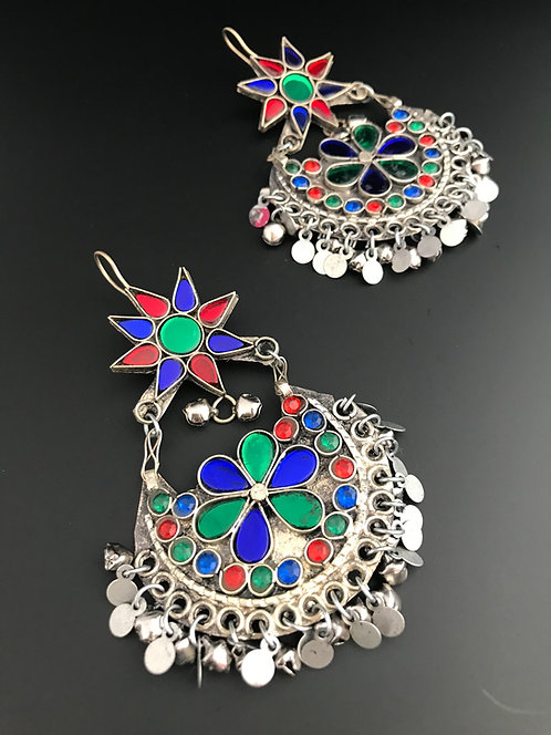 Afghan Kuchi Chandbali Earrings