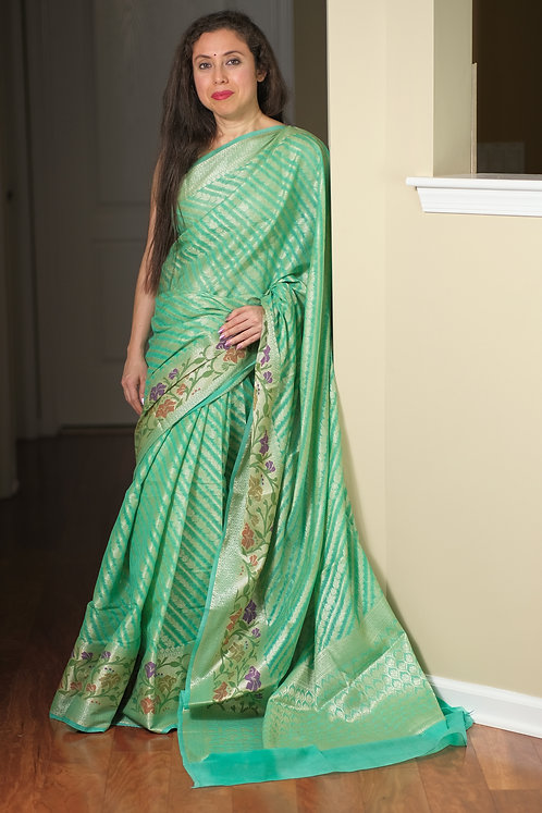 Soft Tissue Semi Banarasi Saree in Sea Green and Gold