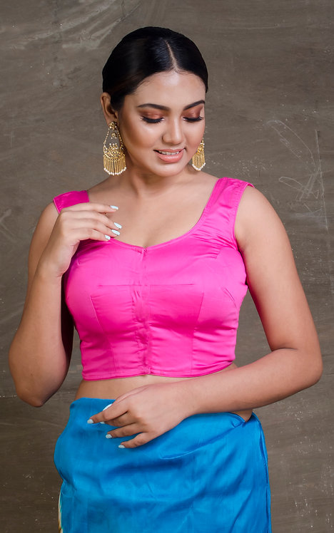 Bubble Gum Pink Sleeveless Designer Saree Blouse in Size 36