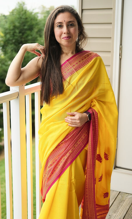 Handloom Soft Cotton Saree in Yellow and Pink