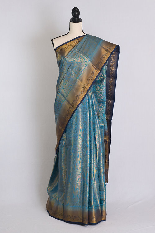 Art Silk Brocade Kanjivaram Saree in Blue, Gold and Dark Blue