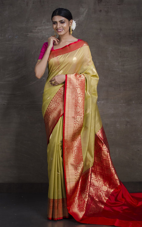 Pure Tussar Banarasi Silk Saree in Beige and Red