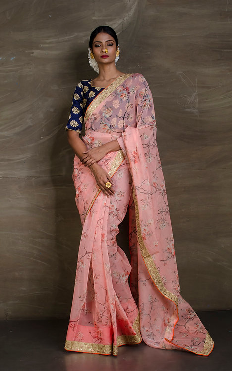 Floral Organza Party Wear Saree in Peach