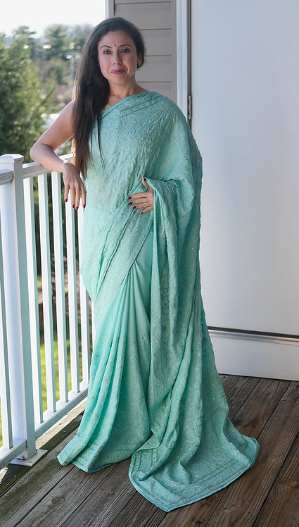 Designer Party Wear Chikankari Embroidery Crepe Silk Saree in Light Blue
