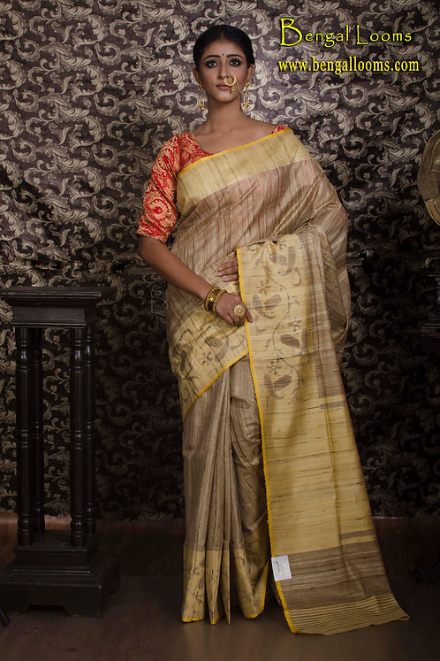 Tissue Tussar Banarasi Saree in Beige and Yellow