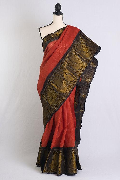 Zari Border Pure Cotton Sungudi Saree in Dark Rust and Black