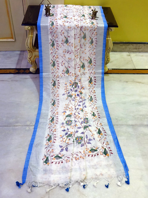 Printed Soft Woven Cotton Linen Saree in White, Blue and Silver