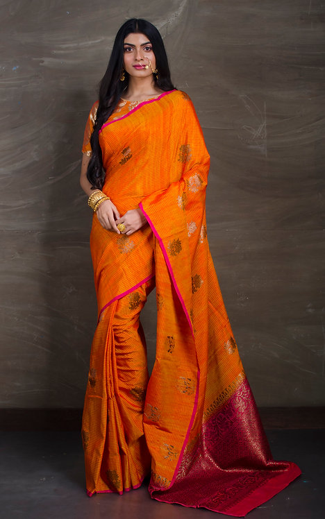 Pure Dupion Tussar Banarasi Saree in Orange and Magenta