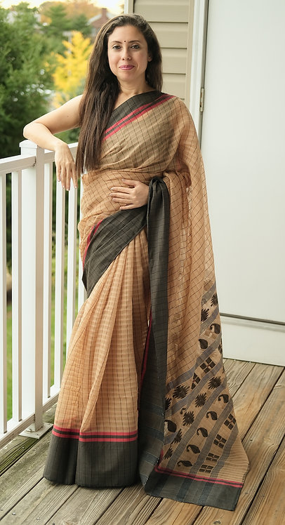 Bengali Soft Cotton Saree in Biscuit Brown and Black