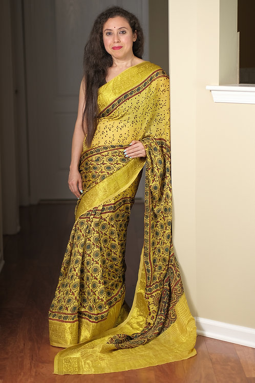 Ajrakh Saree on Pure Dola Silk with Natural Dye in Yellow
