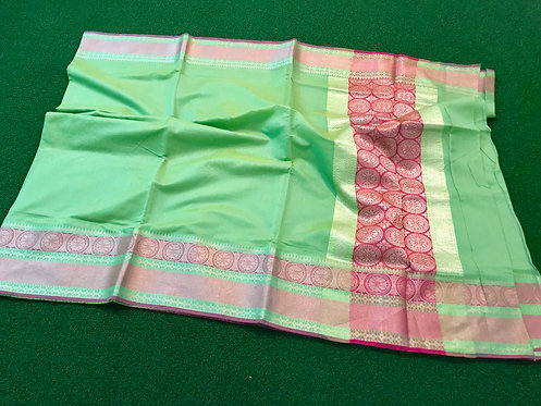 Chanderi Cotton Banarasi Saree in Light Green