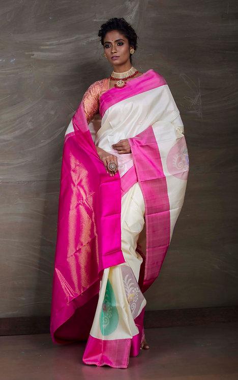 Premium Quality Kanjeevaram Saree in Off White and Pink