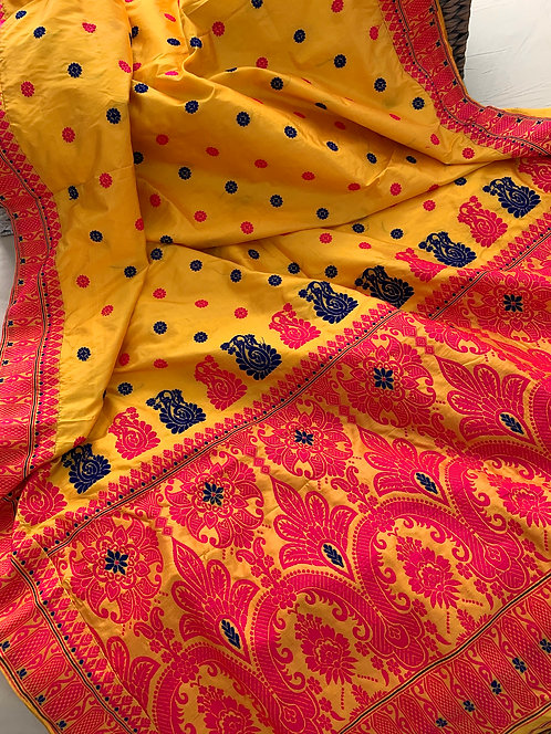 Assam Silk Saree in Yellow, Hot Pink and Blue