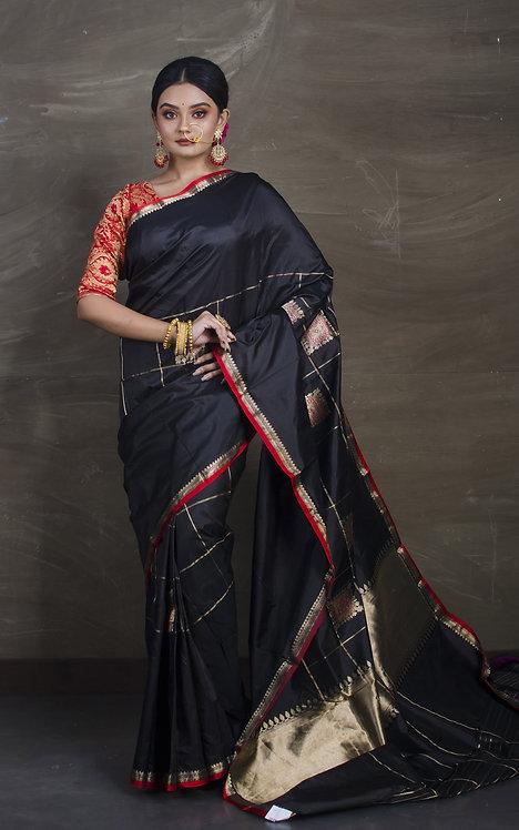 Designer Pure Banarasi Katan Silk Saree in Black, Red and Gold