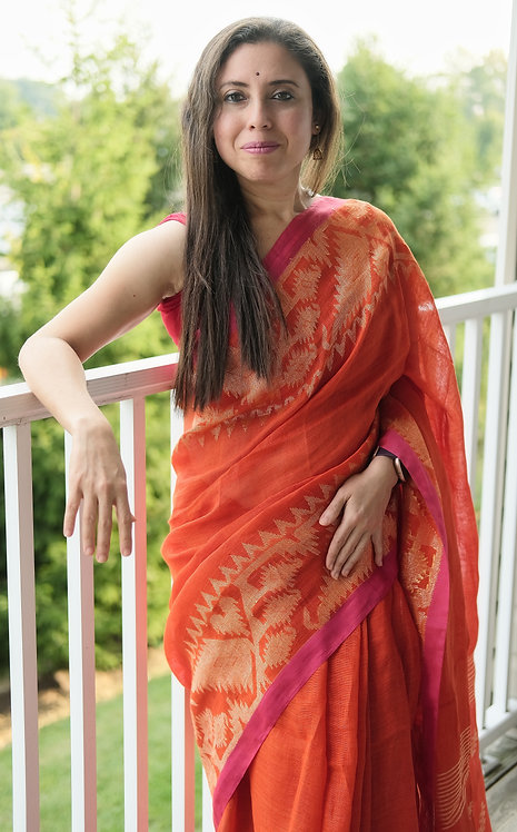 Pure Linen Jamdani Saree in Bright Orange and Antique Gold