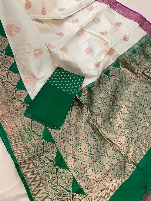 Pure Banarasi Katan Silk Saree in White, Green and Magenta