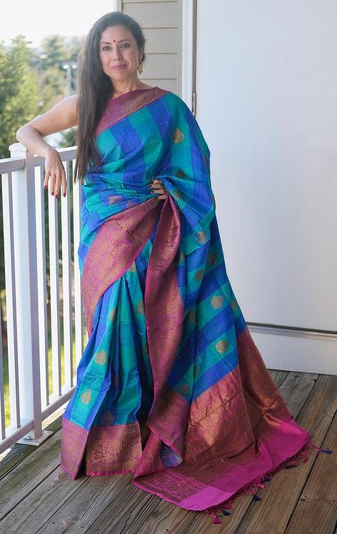 Pure Checks Dupion Tussar Banarasi Saree in Blue and Magenta