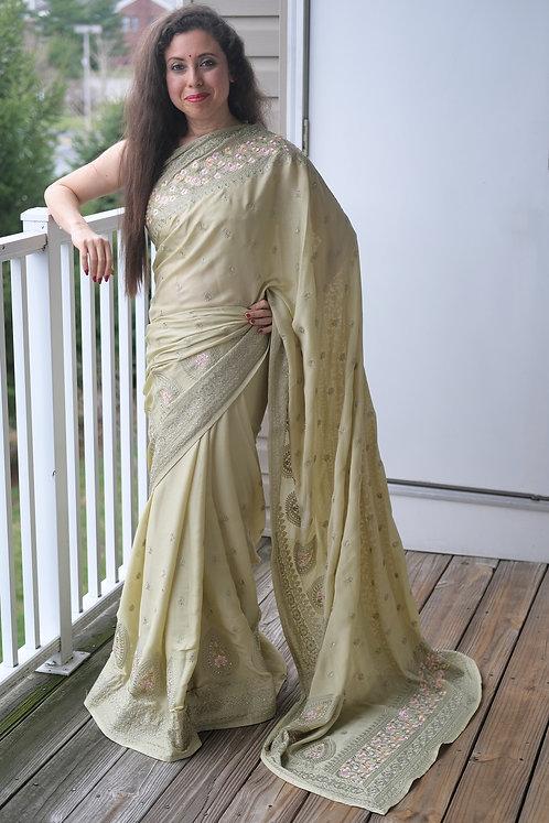 Designer Party Wear Kashmiri Embroidery Satin Silk Saree in Light Olive Green