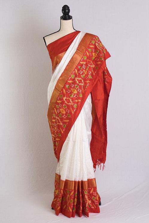 Pochampally Double Ikat Saree in White and Orange