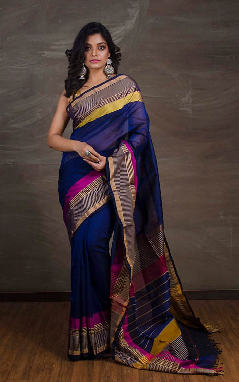 Maheswari Cotton Silk Saree in Ink Blue, Yellow and Pink