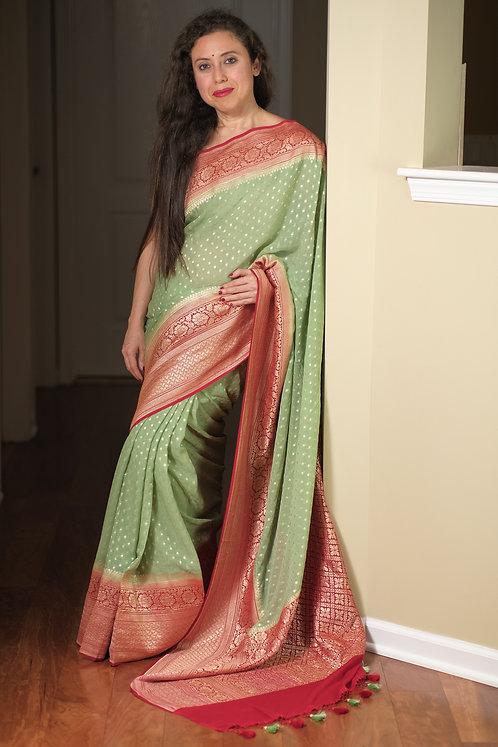 Pure Khaddi Georgette Banarasi Saree in Sea Green and Red
