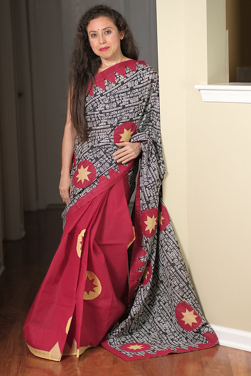 Script Printed Cotton Applic Boutique Saree in Black, Red and Yellow