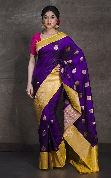 Banarasi Silk Saree in Dark Purple and Yellow