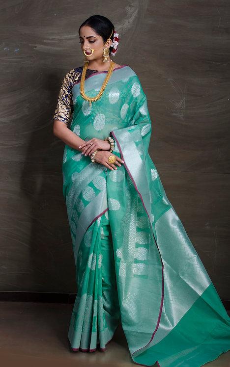 Kora Cotton Banarasi Saree in Green and Silver