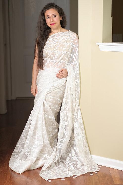 Soft Jamdani Saree in Off White