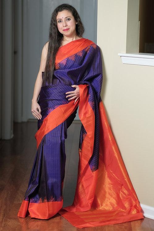 Gadwal Silk Saree with Checks in Midnight Blue and Orange