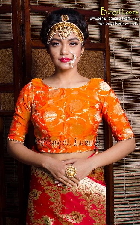 Orange Banarasi Silk Blouse in Size 34