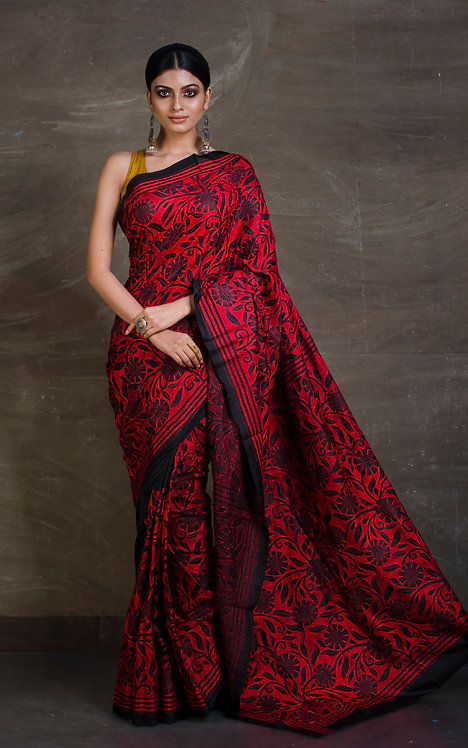 Hand Embroidered Kantha Stitch Saree in Black and Red