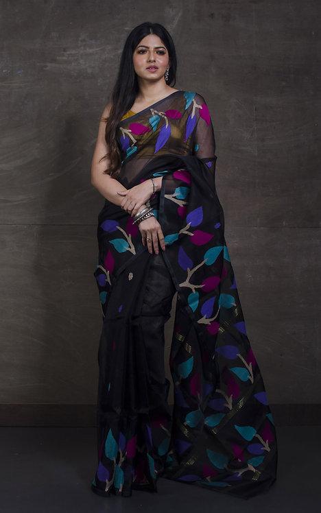 Muslin Jamdani Saree in Black and Multi-Color