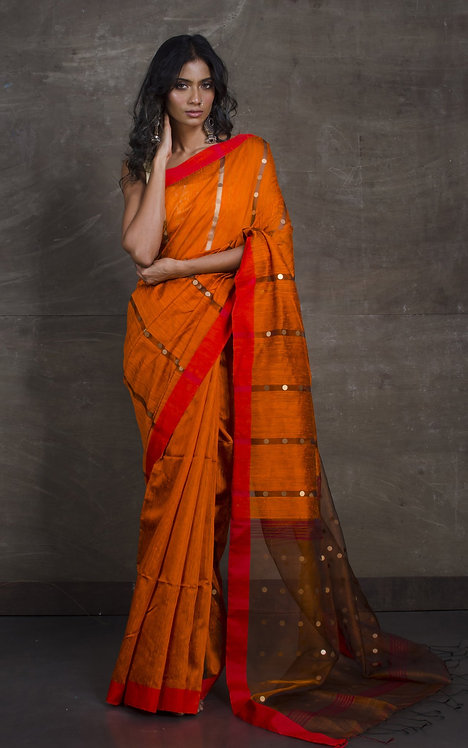 Matka Tussar Saree with Sequin in Orange, Red and Black