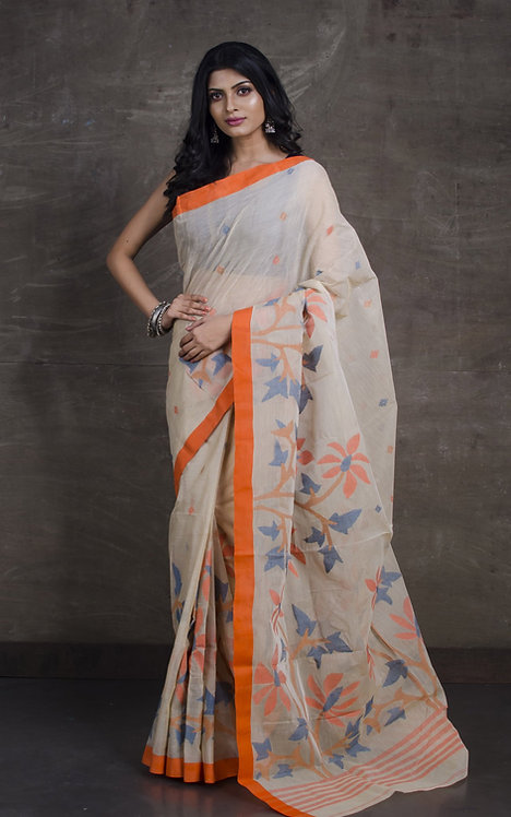Cotton Jamdani Saree with Starch in Beige