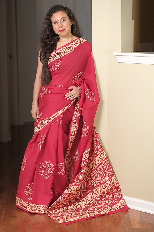 Printed Cotton Saree with Starch in Red and Light Yellow