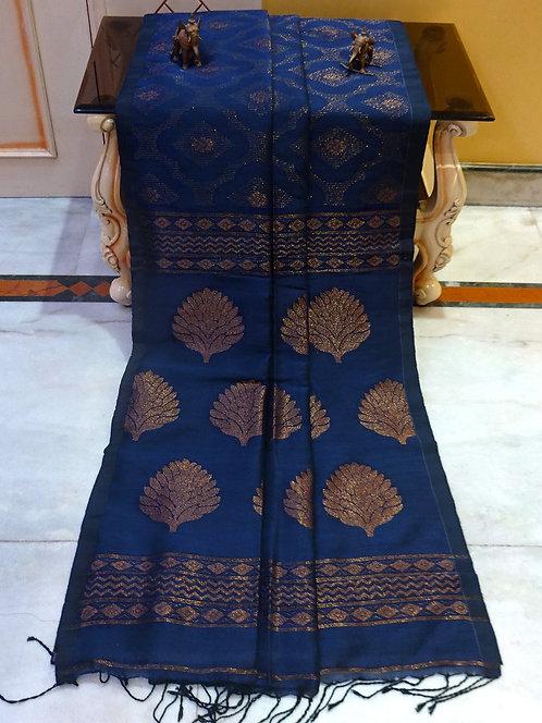 Jaal Work Linen Banarasi Saree in Dark Denim Blue and Antique Gold