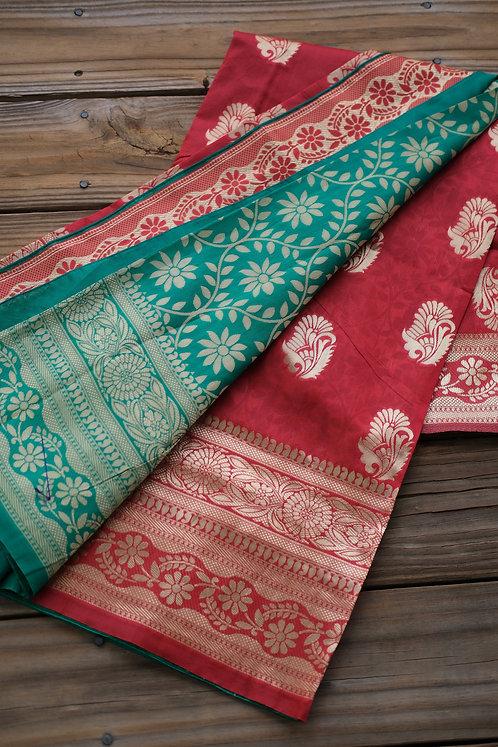 Art Silk Banarasi Saree in Red, Green and Gold