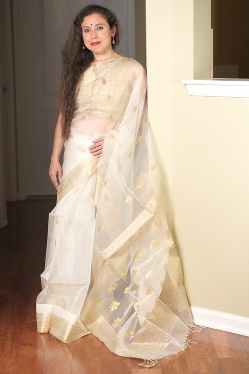 Muslin Banarasi Saree in Off White and Gold
