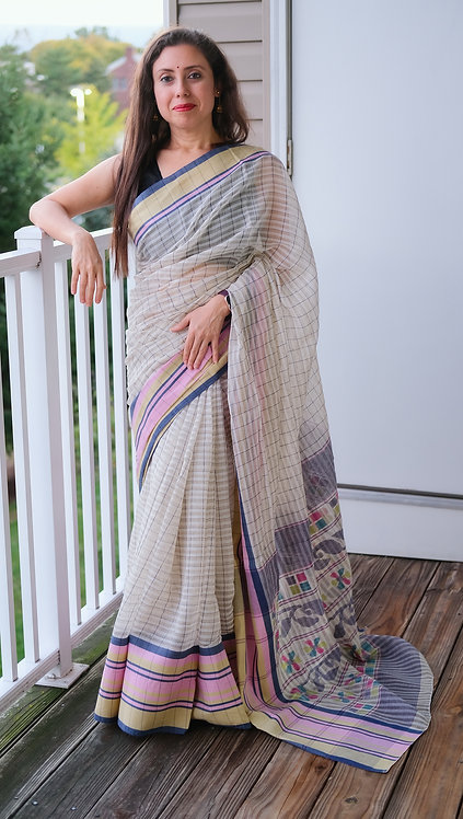 Bengal Handloom Soft Cotton Saree in Off White, Pink and Blue