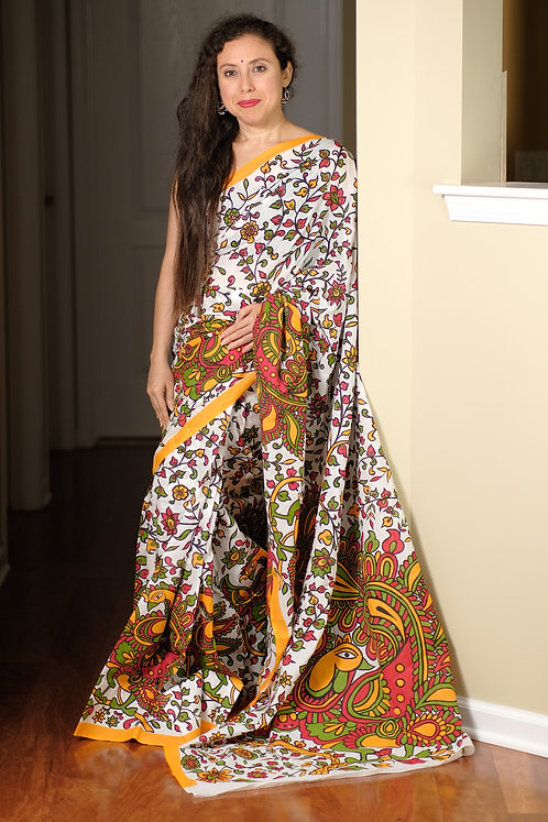 Soft Mul Cotton Saree in White, Red and Yellow