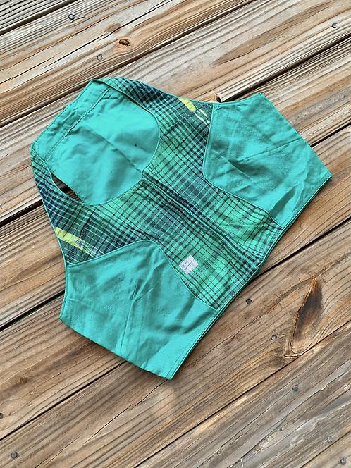 Sea Green Designer Cotton Silk Blouse in Size 42