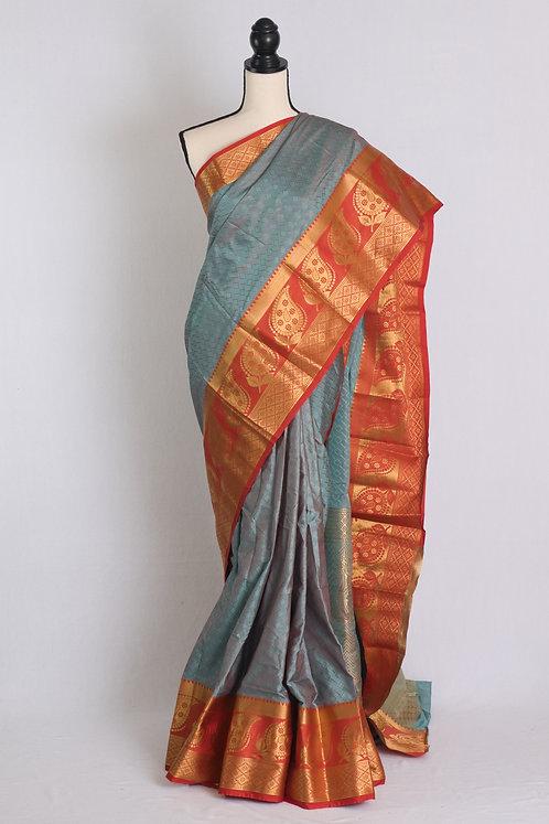 Art Silk Kanjivaram Saree in English Blue and Orange