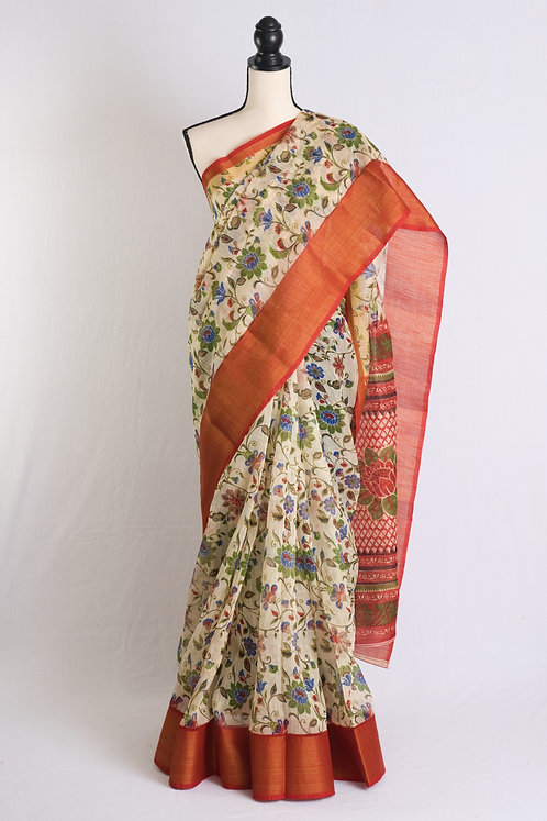 Printed Floral Blended Cotton Saree in Cream, Bright Red and Gold