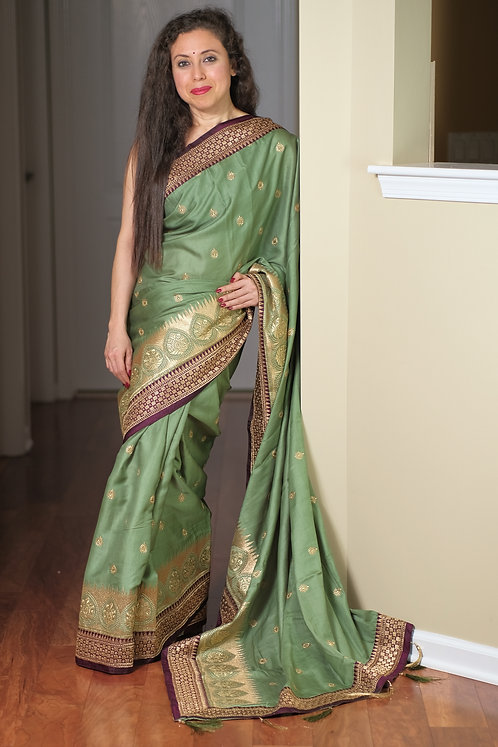 Tussar Embroidery Saree in Sea Green, Gold and Maroon