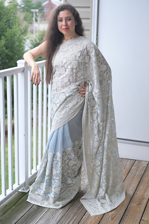 Shimmer Georgette Chikankari Saree in Sky Blue and White