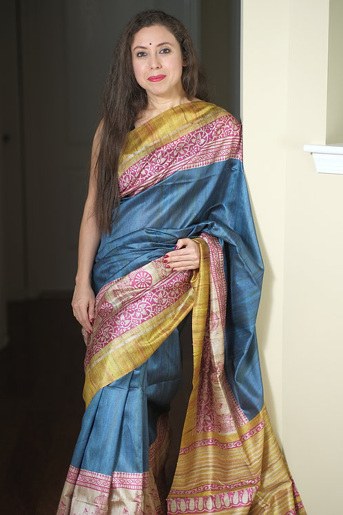 Art Silk Printed Gicha Tussar Saree in Steel Blue, Pink and Yellow