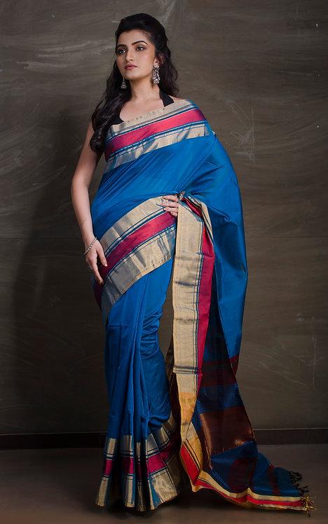 Maheshwari Cotton Silk Saree in Blue and Red