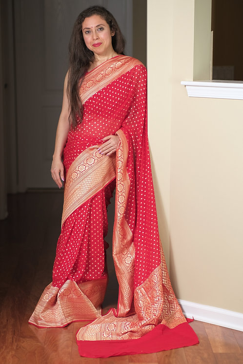 Pure Georgette Banarasi Saree in Bright Red and Gold
