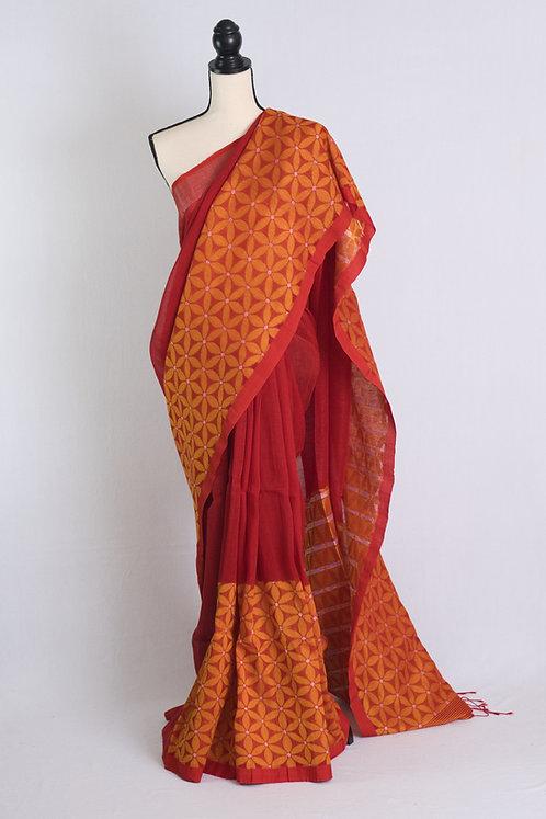 Skirt Border Cotton Linen Jamdani Saree in Red and Yellow